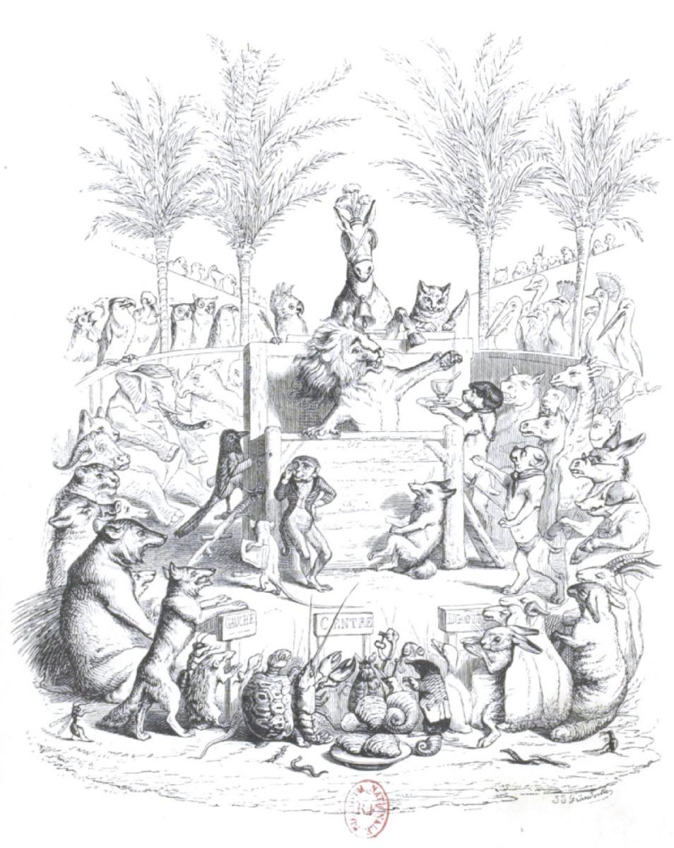 """Жан Иньяс Изидор (Жерар) Гранвиль. Лев-спикер. """"Сцены общественной и частной жизни животных"""""""
