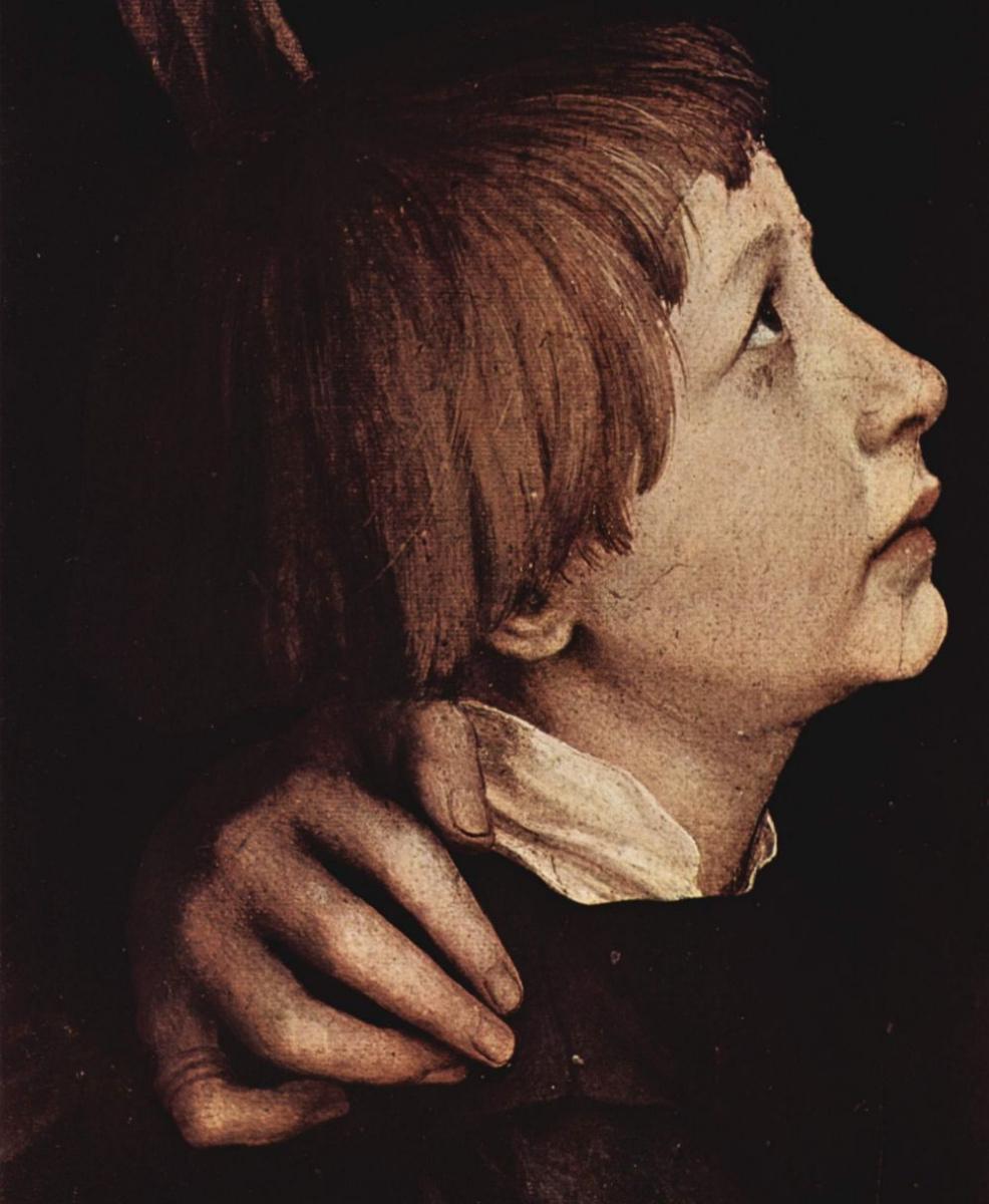 Ганс Гольбейн Младший. Портрет супруги Гольбейна со старшими детьми Филиппом и Катариной, фрагмент: Филипп