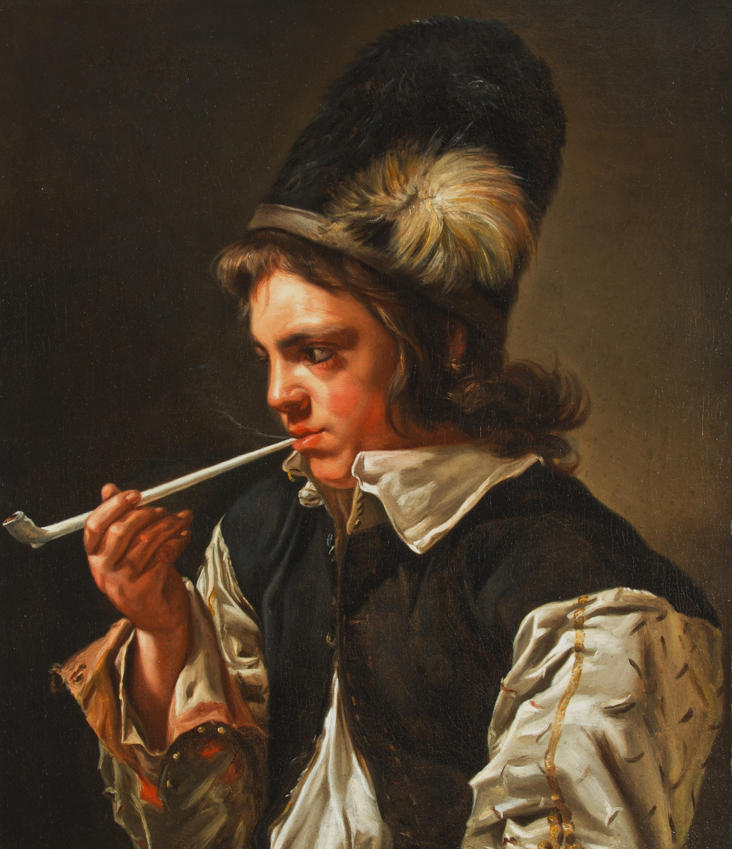 Mikaelina Votier. Young Man smoking a Pipe