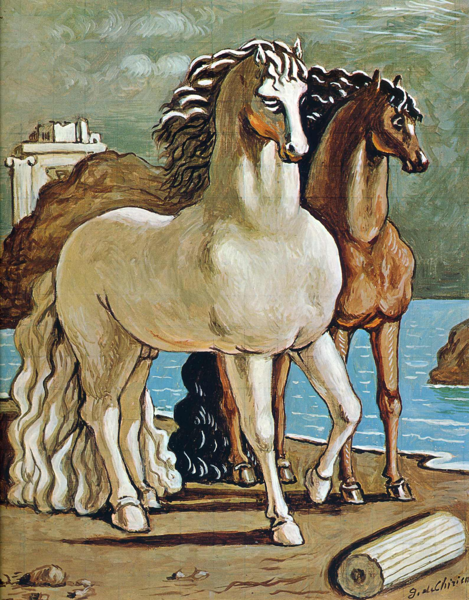 Джорджо де Кирико. Две лошади у озера