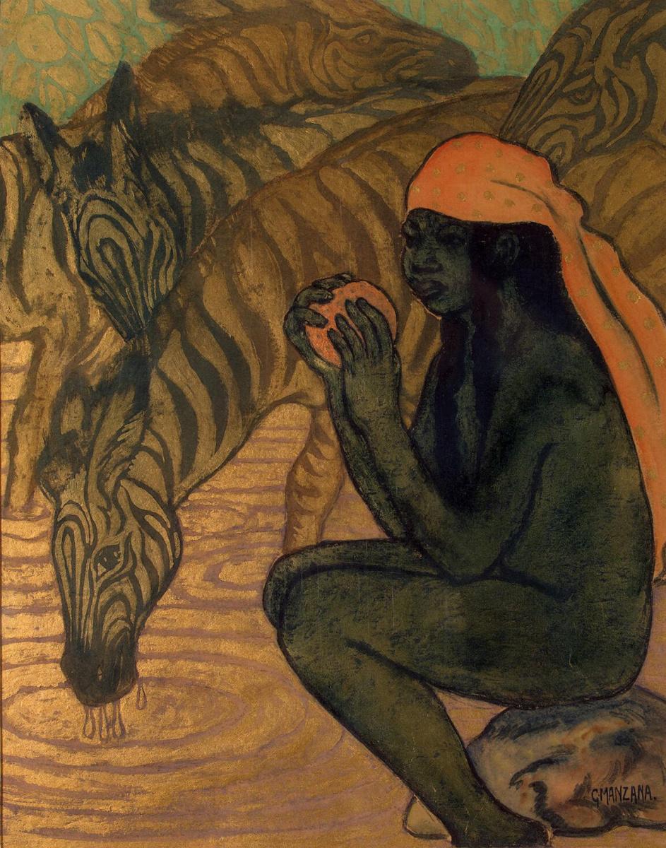 Жорж Манцана-Писсарро. Зебры на водопое