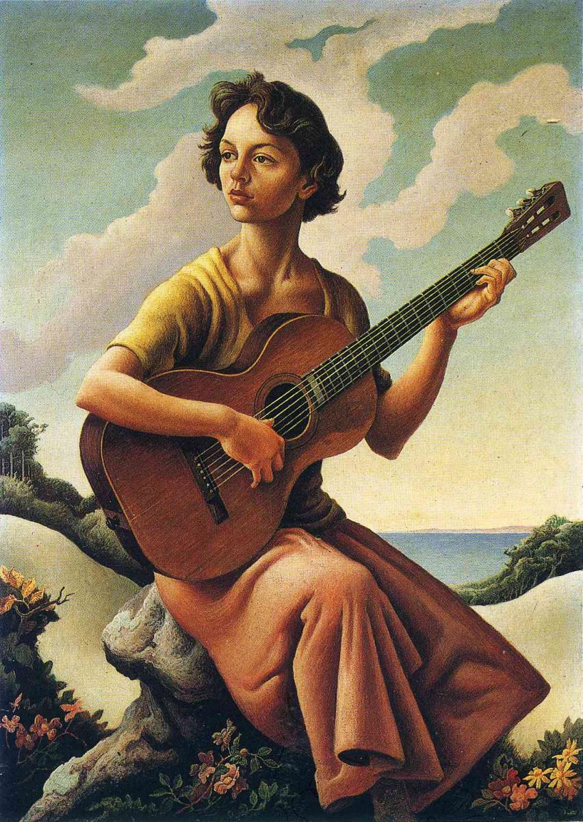 Томас Харт Бентон. Музыкальная девушка на берегу