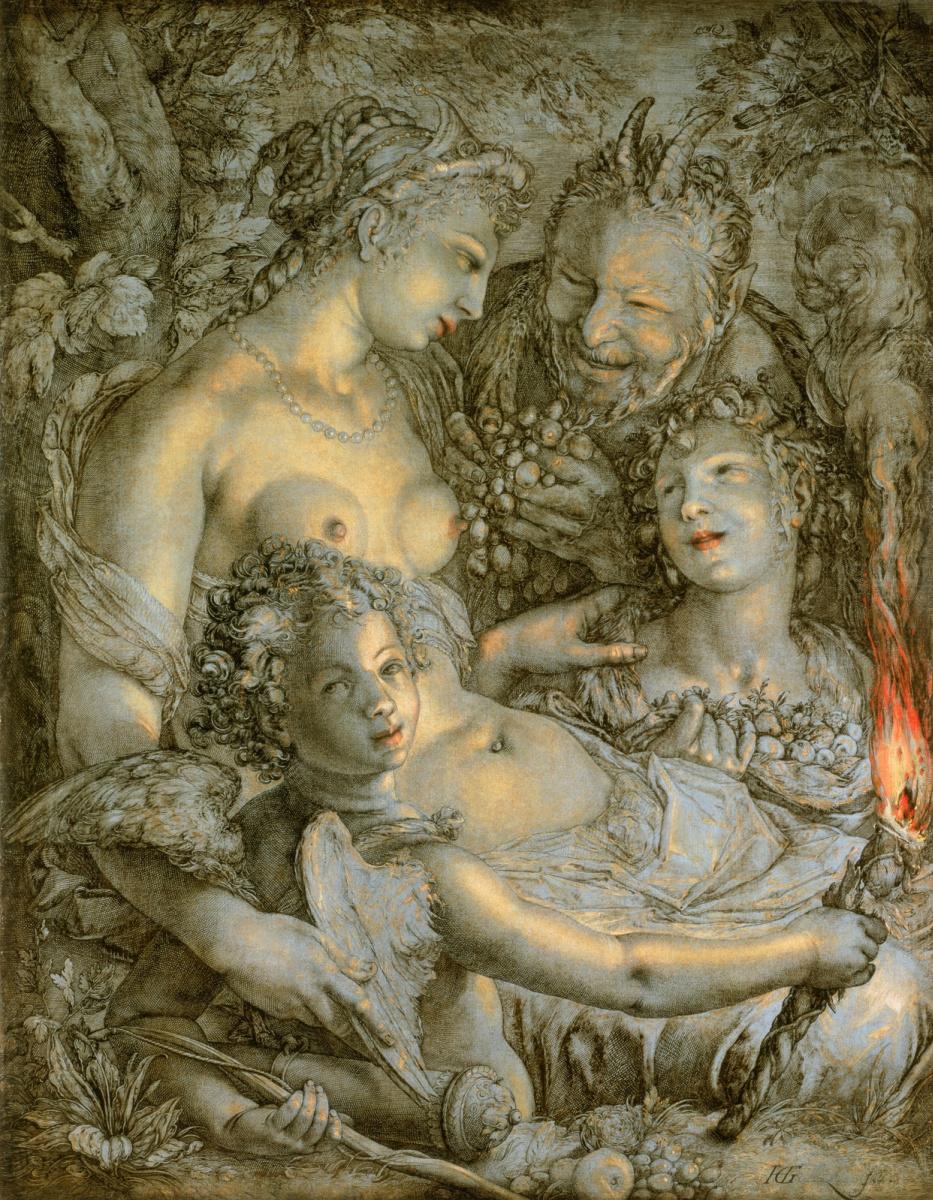 Хендрик Гольциус. Без Цереры и Вакха Венера мерзнет. 1600-1603