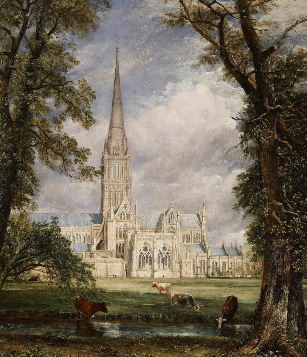 John Constable. View of Salisbury Cathedral from the garden of the Bishop II. Fragment. The Cathedral and a grazing herd of cattle