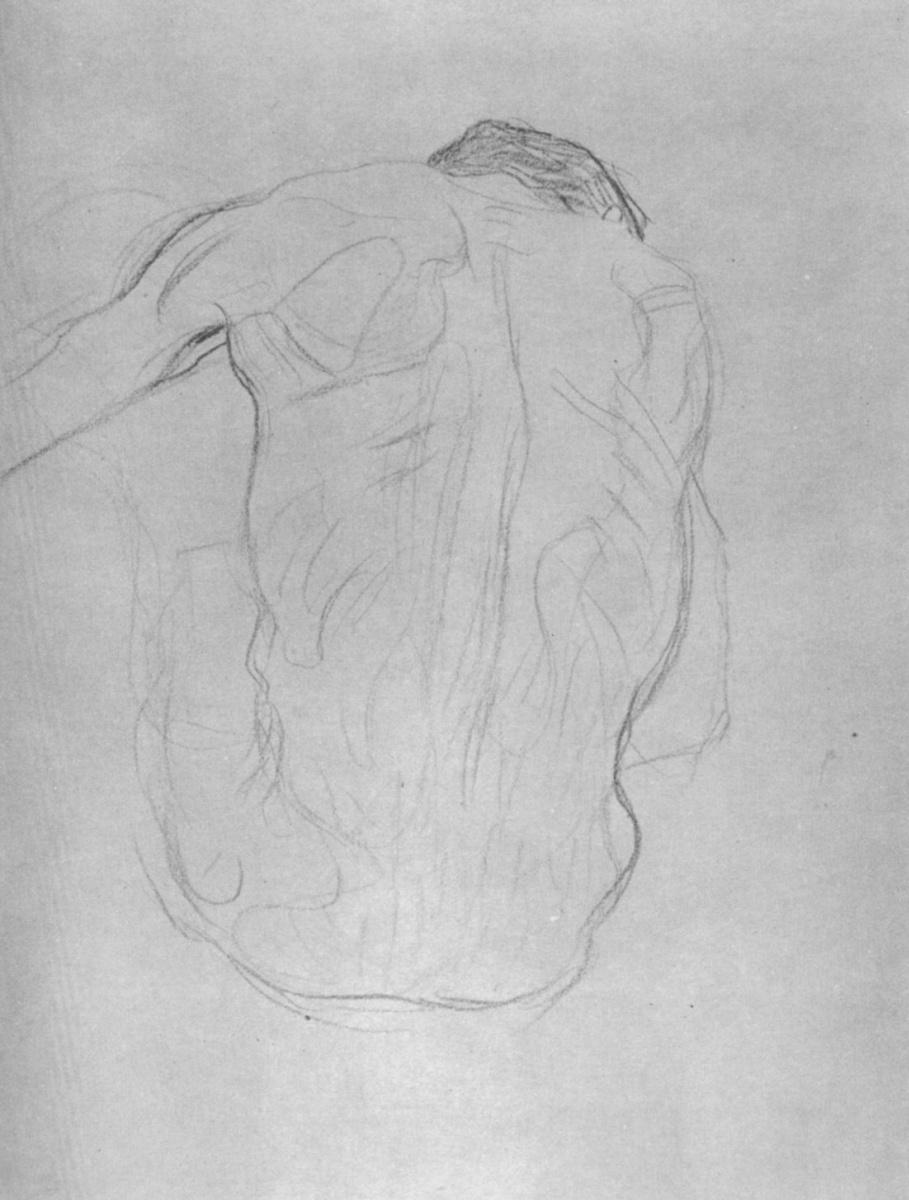 """Густав Климт. Сидящий обнаженный мужчина со спины (Эскиз для """"Медицины"""")"""