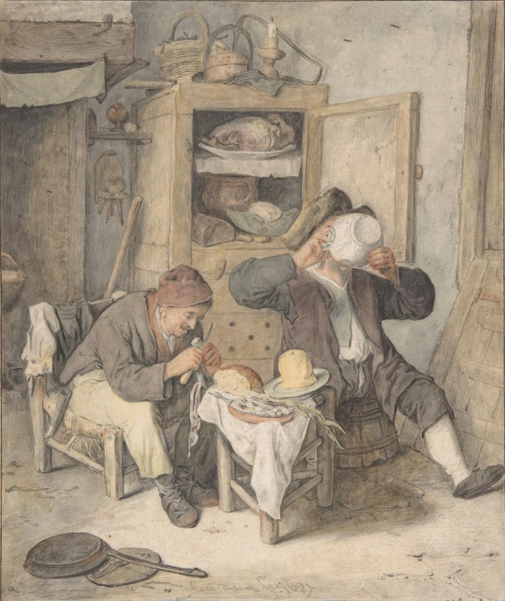 Картинки по запросу posterazzi kitchen scene poster print by cornelis dusart (dutch haarlem 1660 1704 haarlem) (18 x 24) met370463