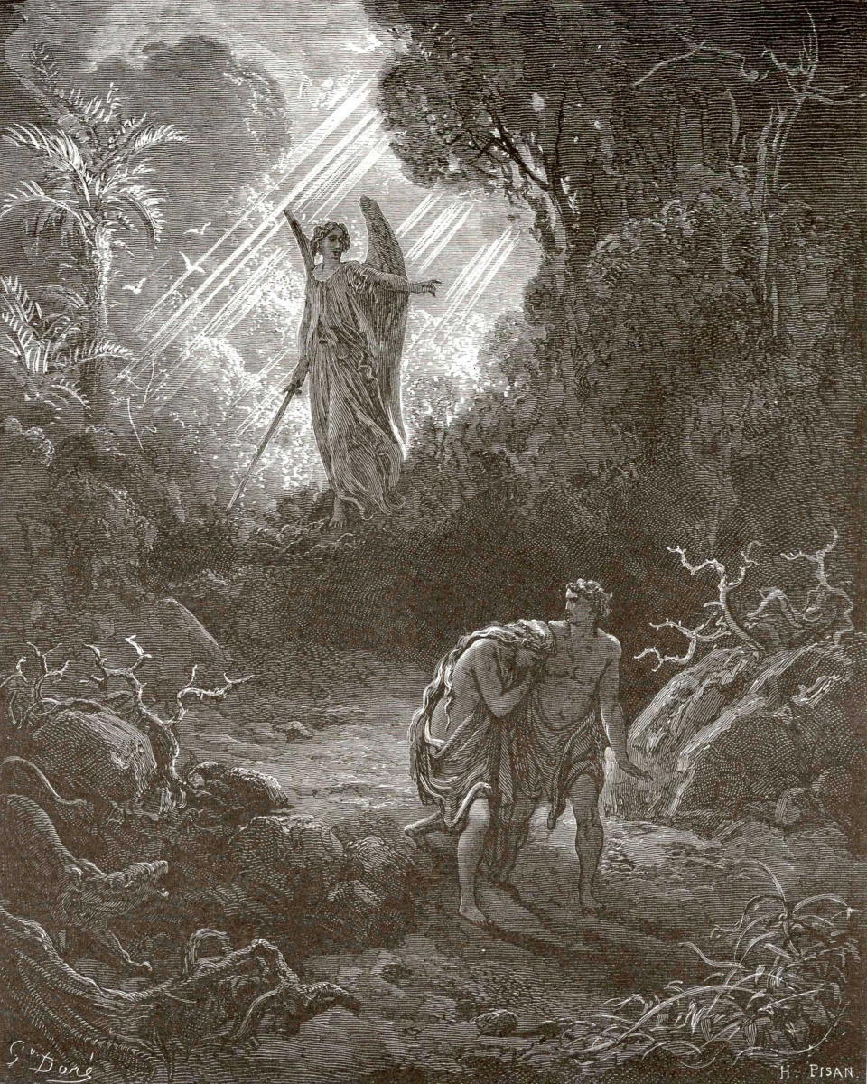 Поль Гюстав Доре. Иллюстрации к Библии: изгнание Адама и Евы из рая