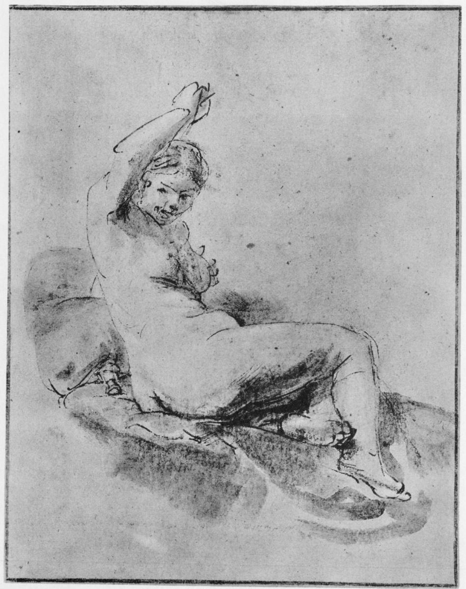 Рембрандт Харменс ван Рейн. Лежащая обнаженная натурщица