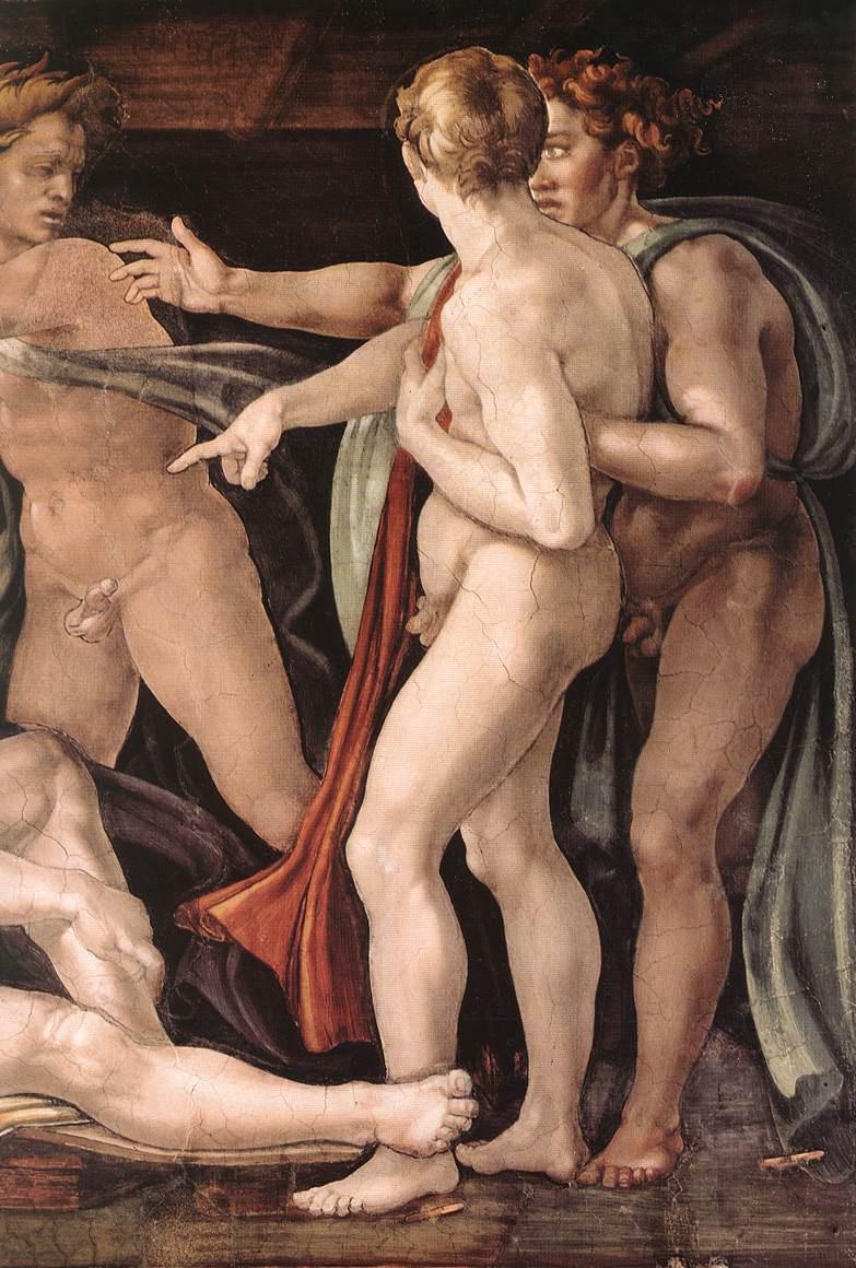 Микеланджело Буонарроти. Опьянение Ноя. Фрагмент.