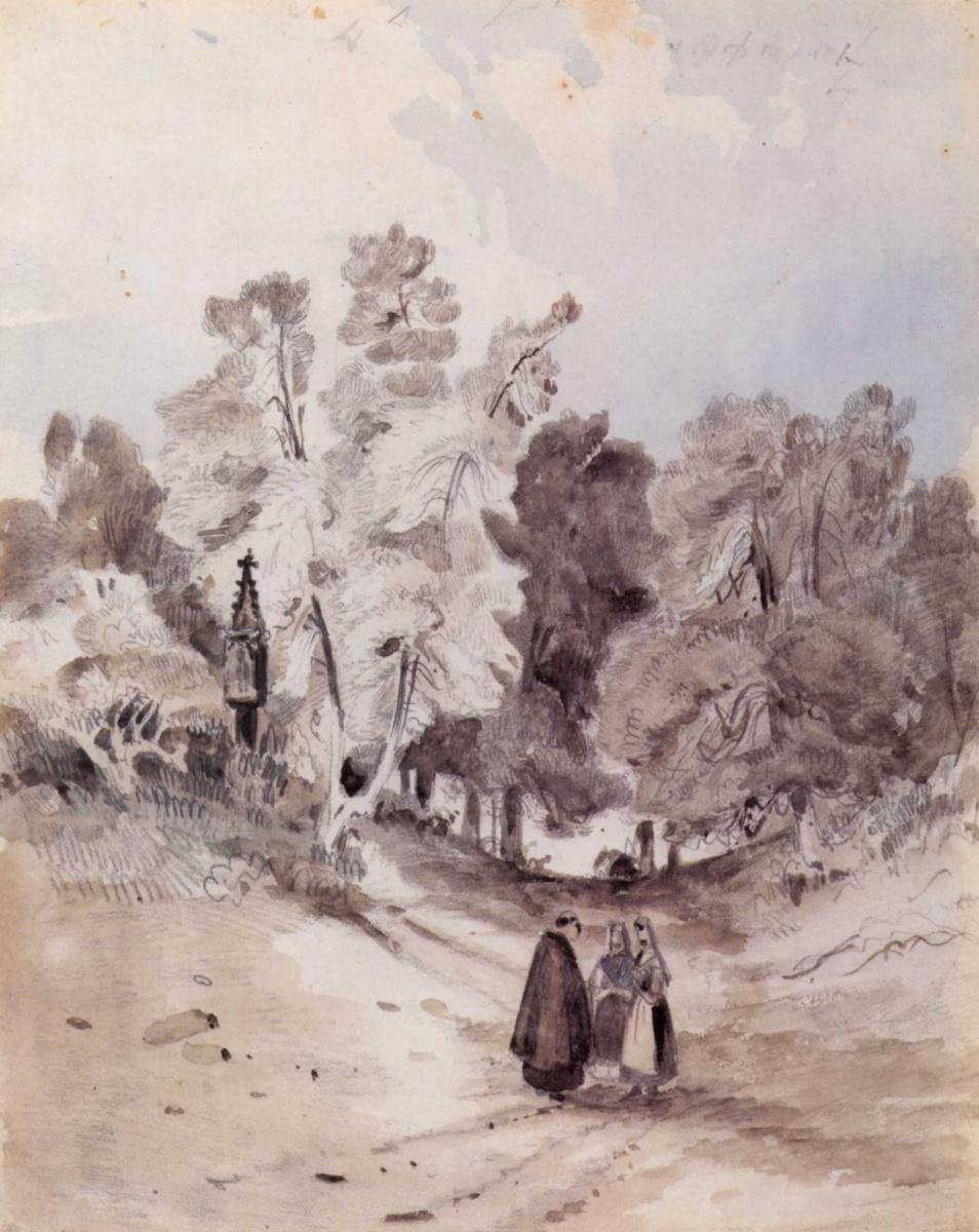 Карл Эдуард Фердинанд Блехен. Лесная дорога с часовней