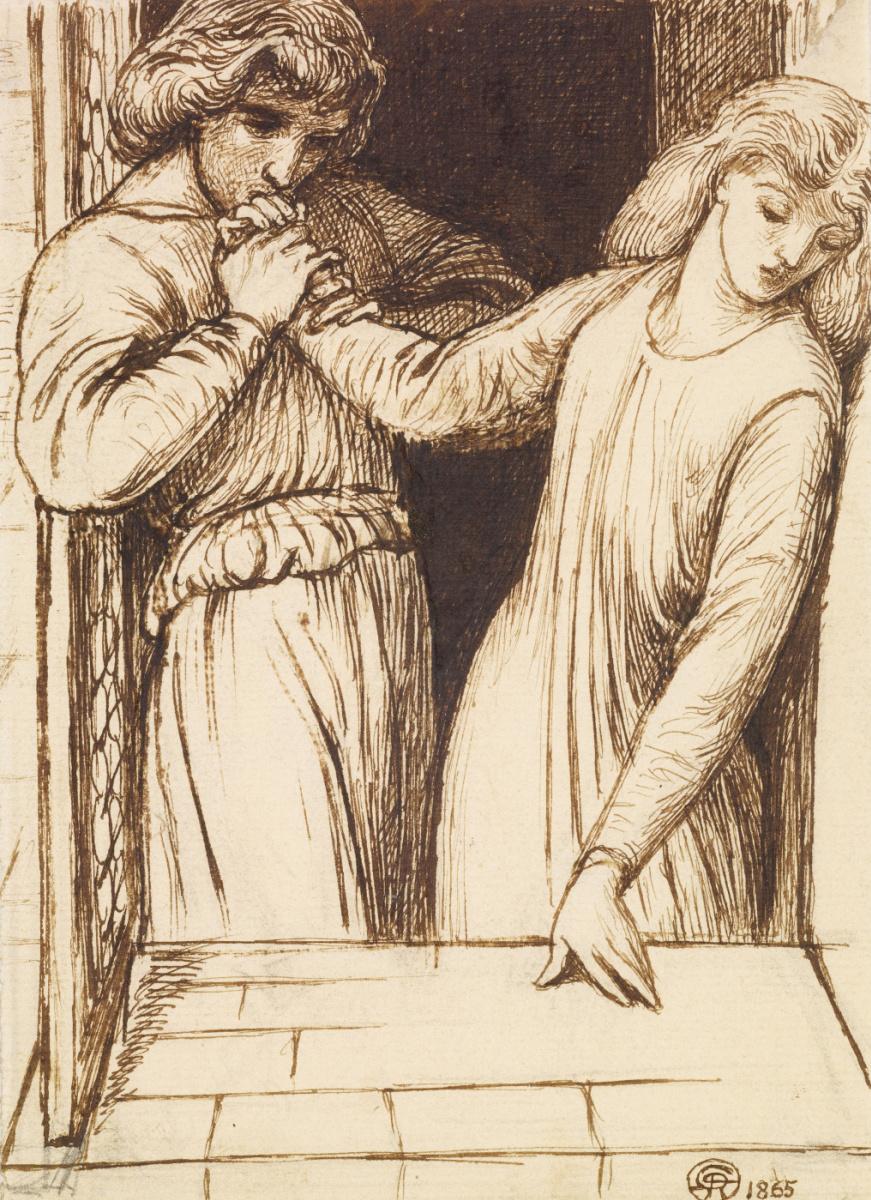 Данте Габриэль Россетти. Гамлет и Офелия. Эскиз