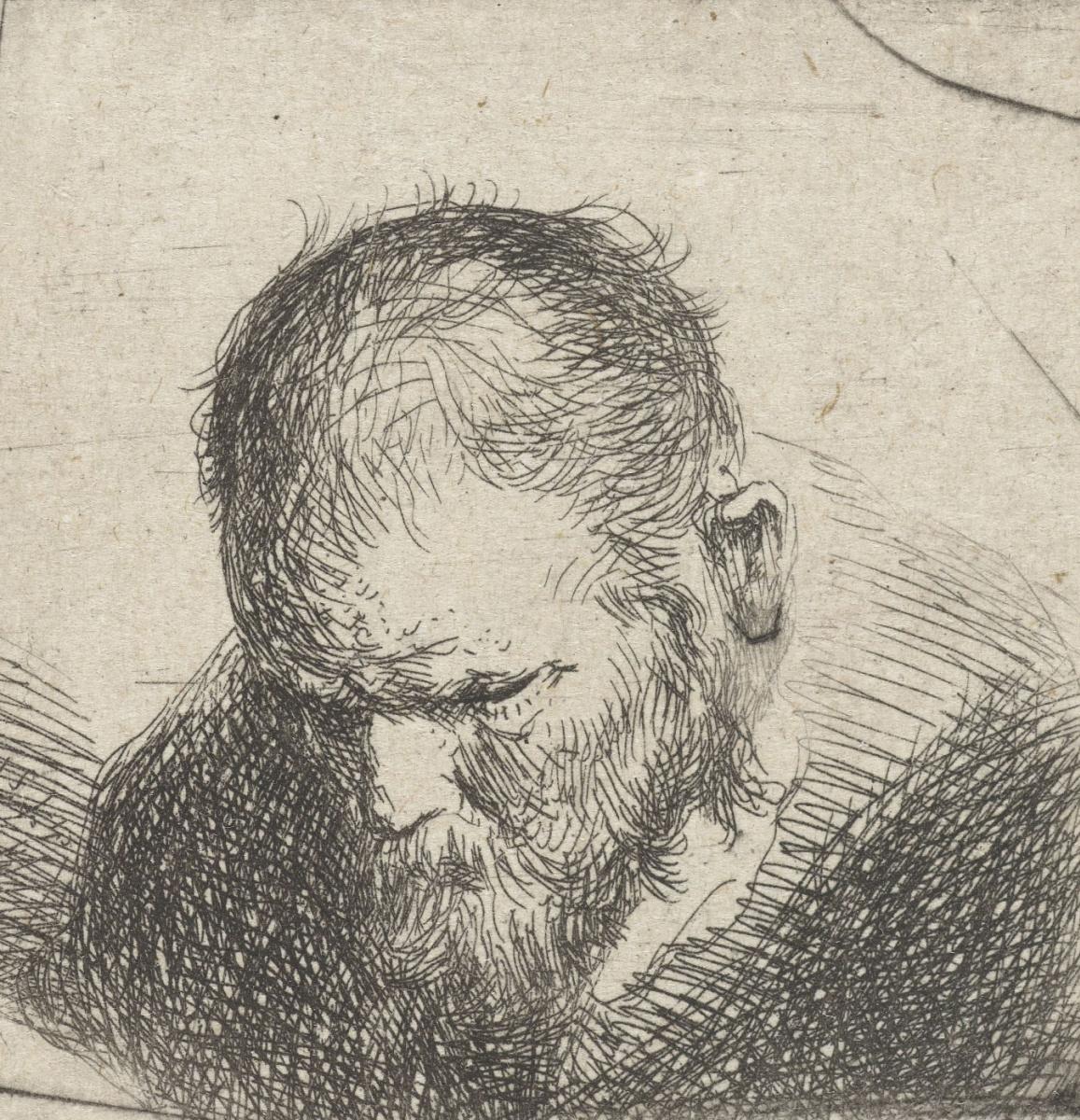 Ян Ливенс. Склонившийся бородатый мужчина