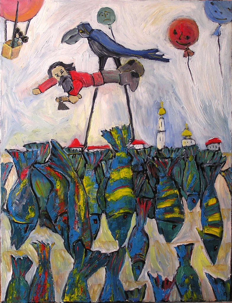 Svyatoslav Ryabkin. Muzhik flying above a field A man flying over a field sown with a fish