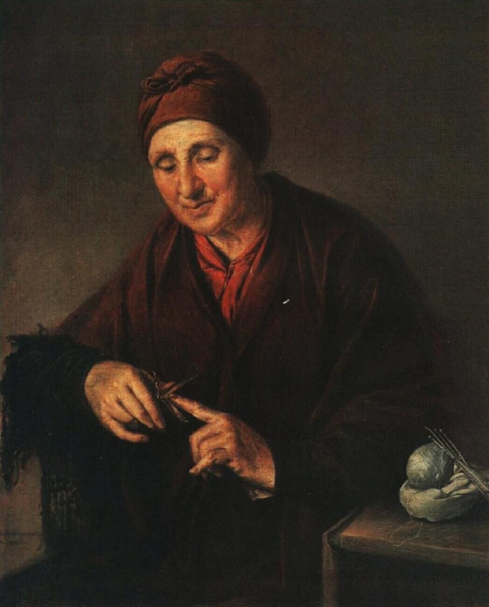 Василий Андреевич Тропинин. Старуха, стригущая ногти (Портрет жены художника)