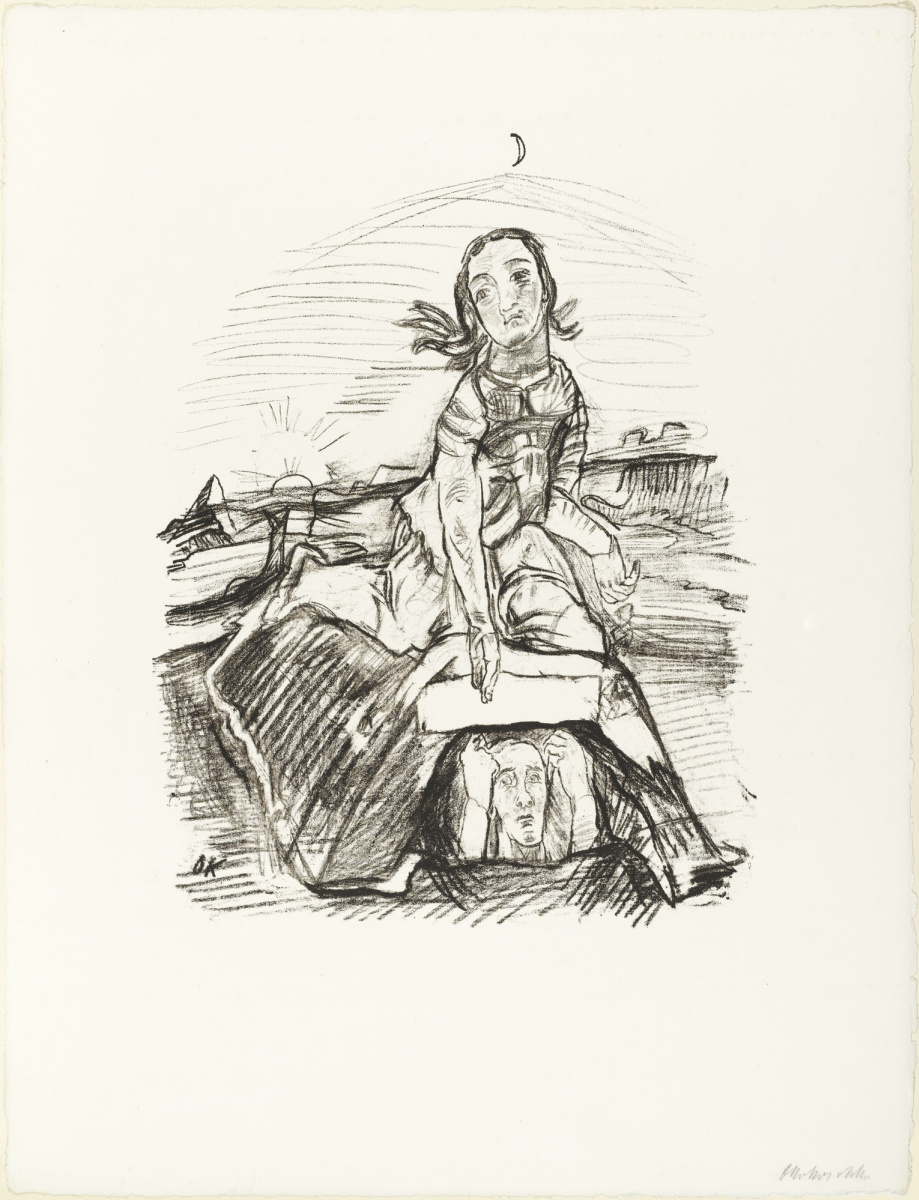Oskar Kokoschka. A man gets out from the grave on which sits a woman