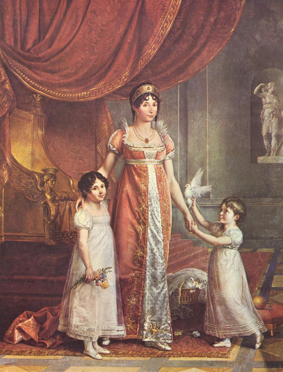 Жан-Батист Викар. Портрет императрицы Жюли Бонапарт с дочерьми
