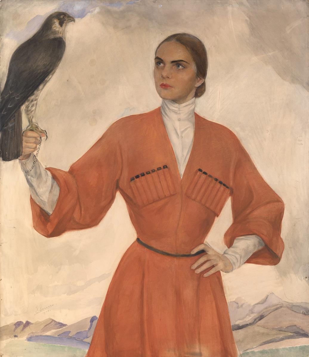 Савелий Абрамович Сорин. Девушка с соколом (портрет Лиз Алтемус — Типпет Уитни).  1925 .