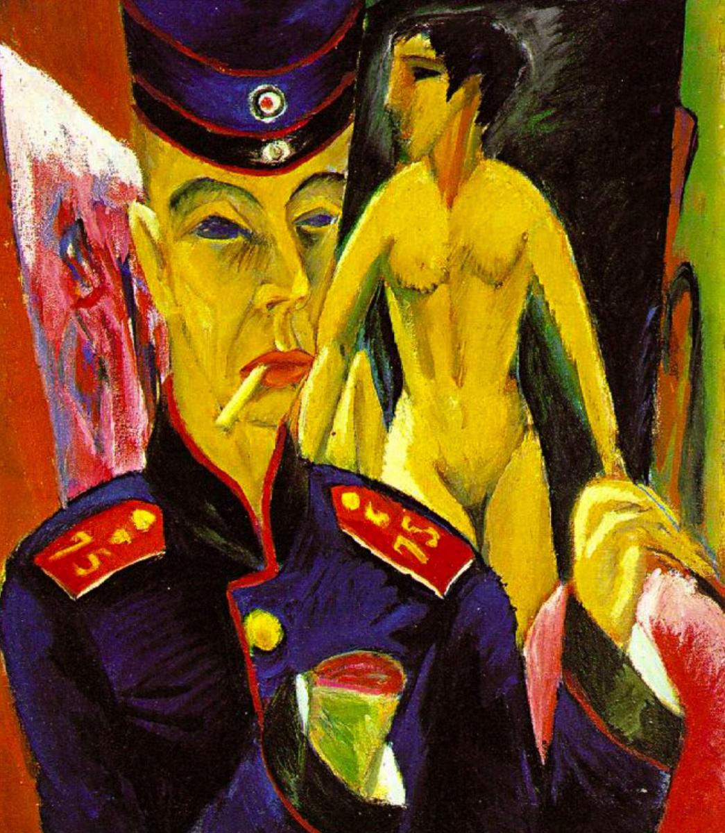 Ernst Ludwig Kirchner. Self-portrait in soldier's uniform