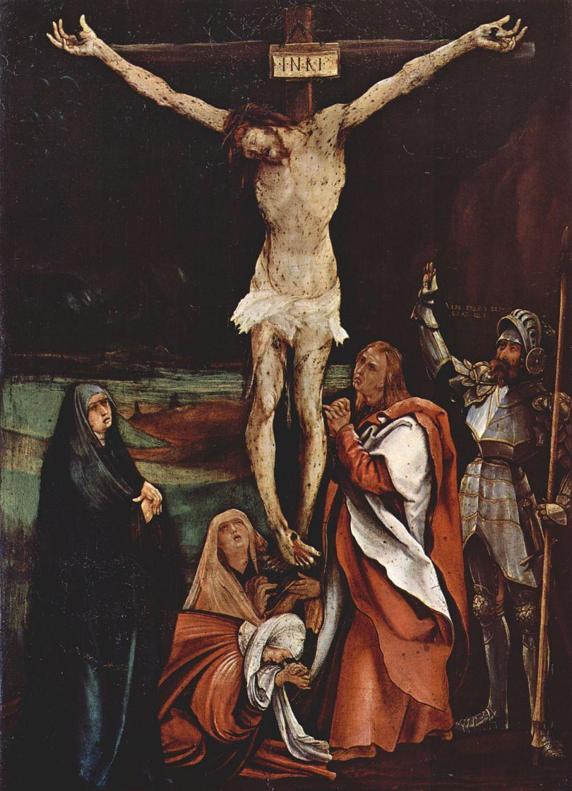 Маттиас Грюневальд. Распятие Христа, сцена: Христос на кресте, Три Марии, св. Иоанн Евангелист и св. Лонгинус