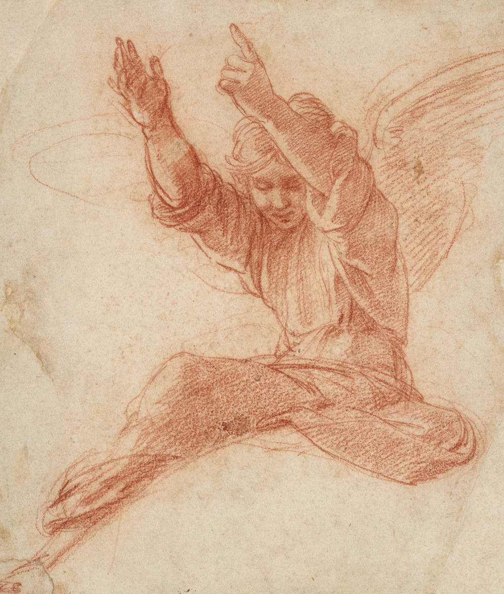 Raphael Sanzio. Sketch of an angel for the painting of the dome of the Chigi Chapel