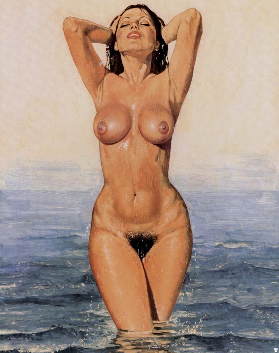Blass Gallego. Nude in the sea