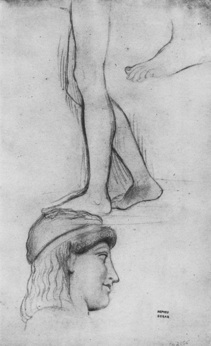 Эдгар Дега. Этюды головы и ног античной статуи юноши