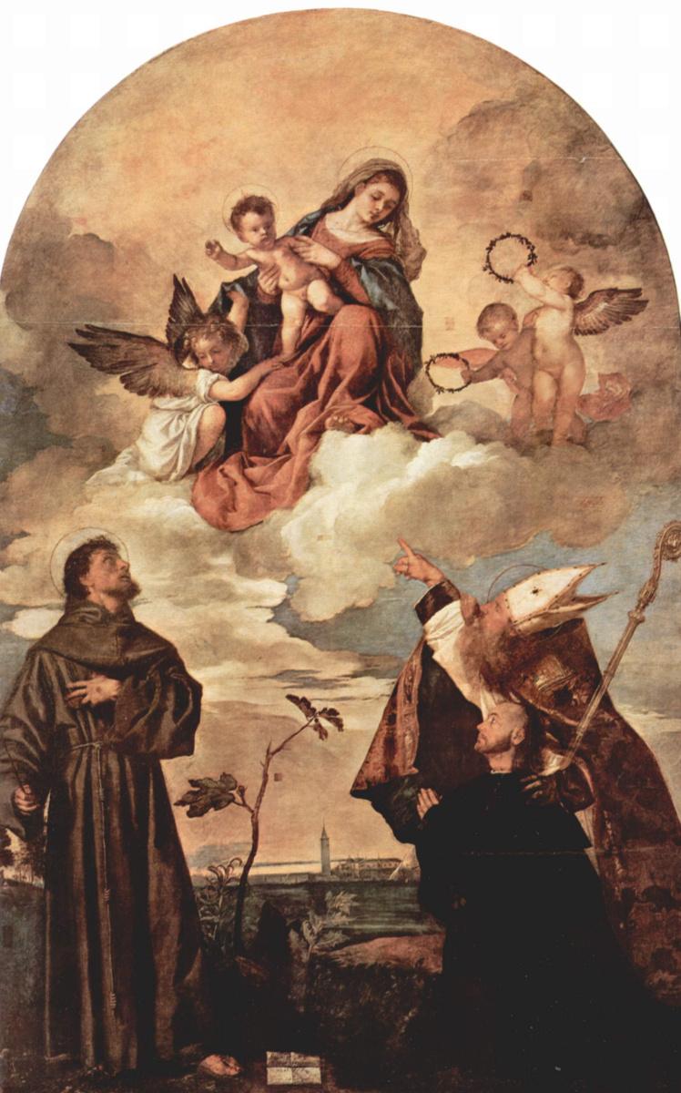 Тициан Вечеллио. Мария во славе с младенцем Иисусом и ангелами, св. Франциском, Альвизием и коленопреклоненным донатором Луиджи Гоцци