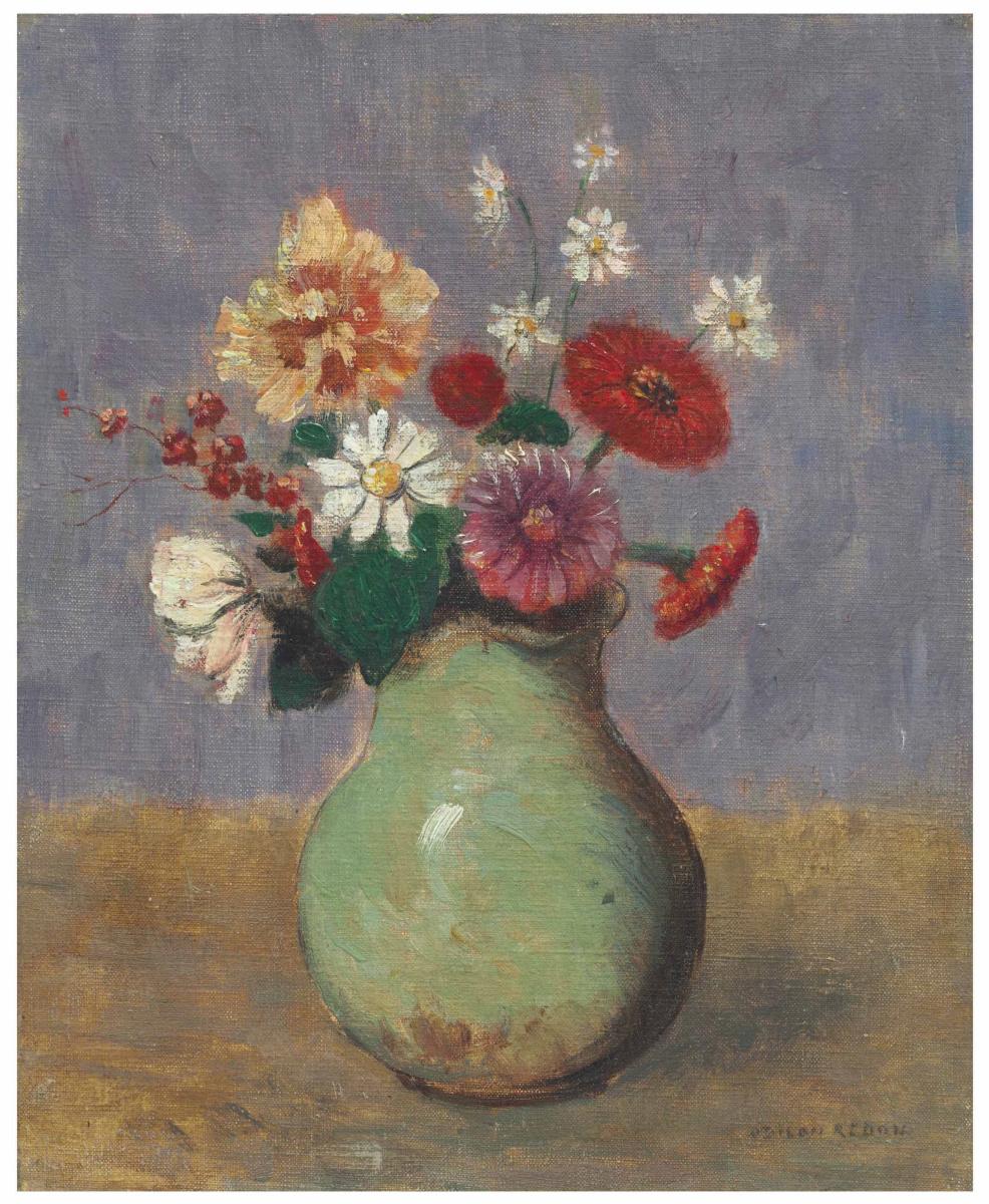 Одилон Редон. Цветы в зеленой вазе