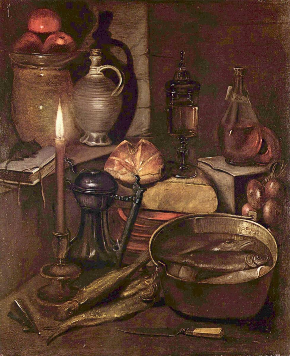 Георг Флегель. Кладовая комната при свете свечи