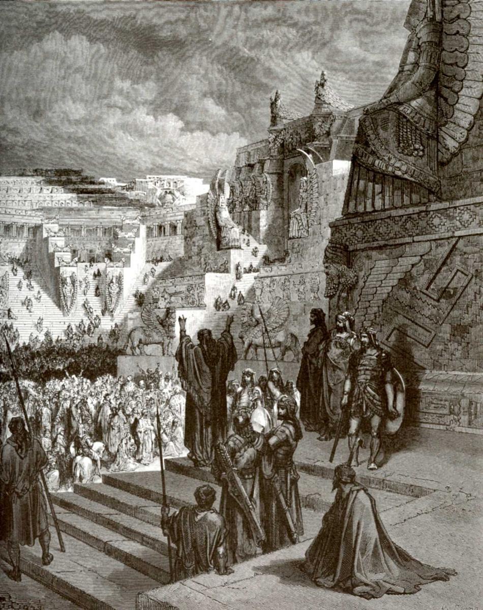 Поль Гюстав Доре. Иллюстрация к Библии: Артаксеркс дает израильтянам свободу