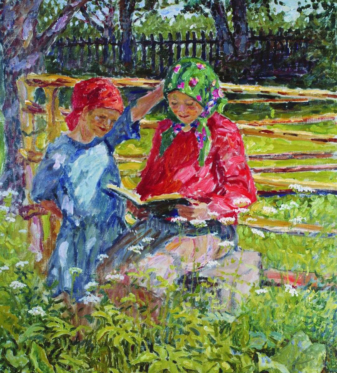 Nikolay Petrovich Bogdanov-Belsky. Girls in headscarves