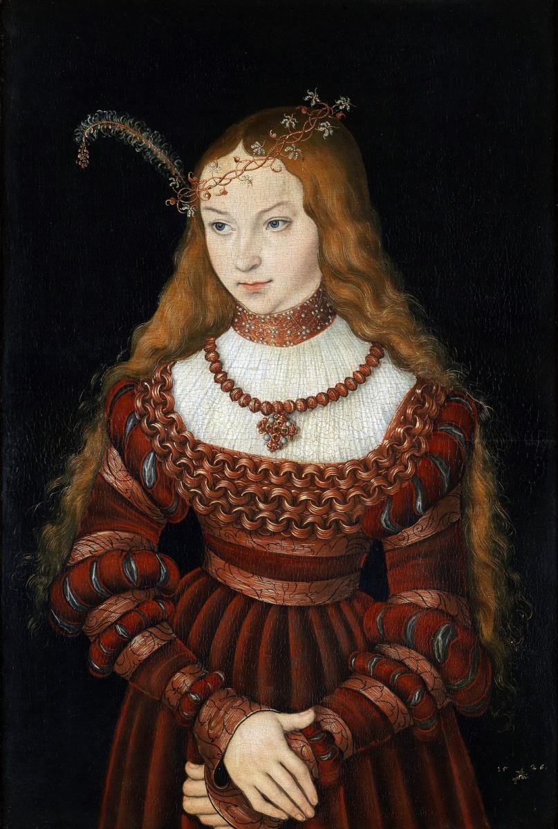 Lucas Cranach the Elder. Princess Sibylla of Cleves in the bride's attire