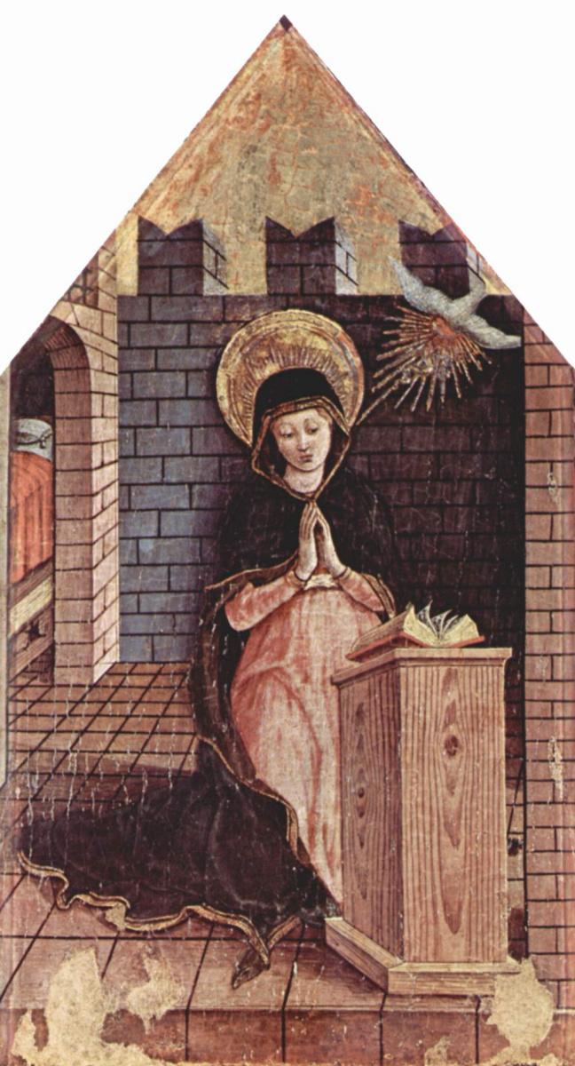 Карло Кривелли. Благовещение. Алтарь из церкви Сан Сильвестро в Масса Фермана, левое навершие