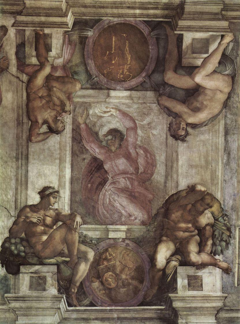 Микеланджело Буонарроти. Бог-Творец и четыре юноши. Фрески Сикстинской капеллы