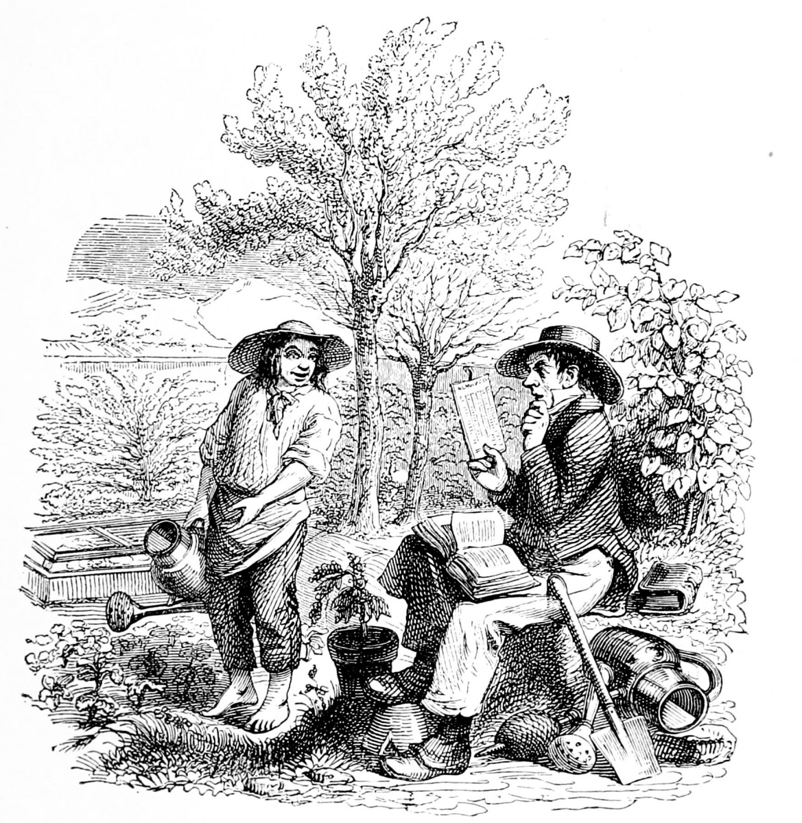 Jean Inias Isidore (Gerard) Granville. Two gardeners. Illustrations to the fables of Florian