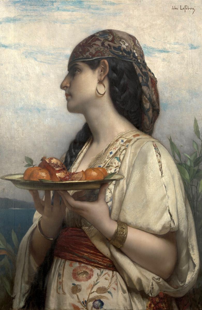 Жюль Жозеф Лефевр. Рабыня с блюдом фруктов.  1874