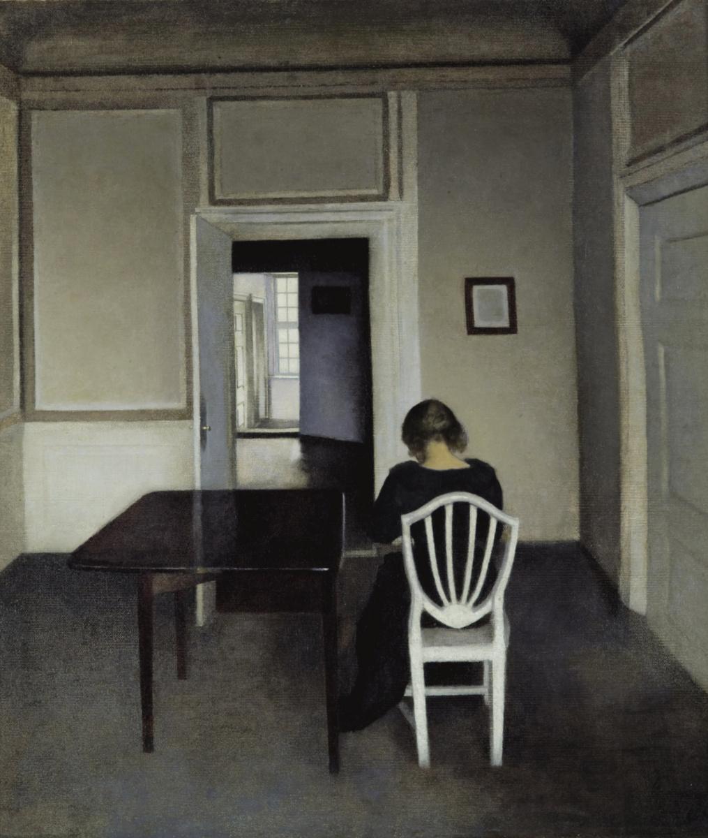 Vilhelm Hammershøi. Interior with Ida on a white chair