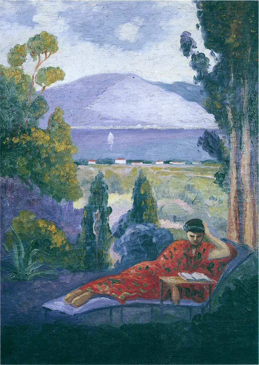 Анри Лебаск. Женщина в средиземноморском пейзаже