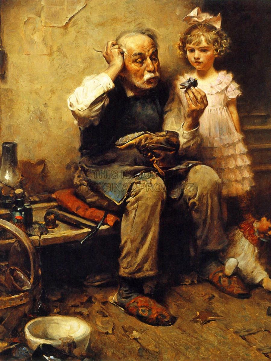 Норман Роквелл. Сапожник думает, как починить туфельку куклы