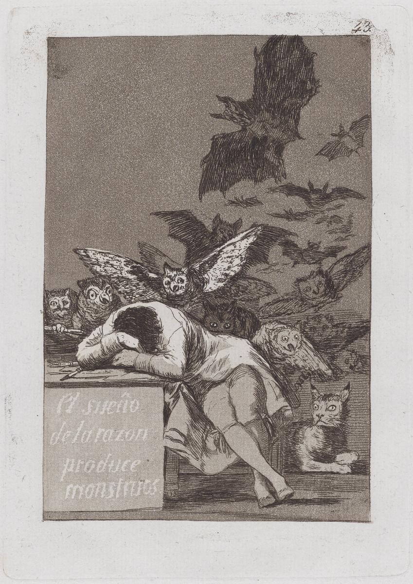 """Франсиско Гойя. Сон разума рождает чудовищ (из серии """"Капричос"""", лист 43)"""
