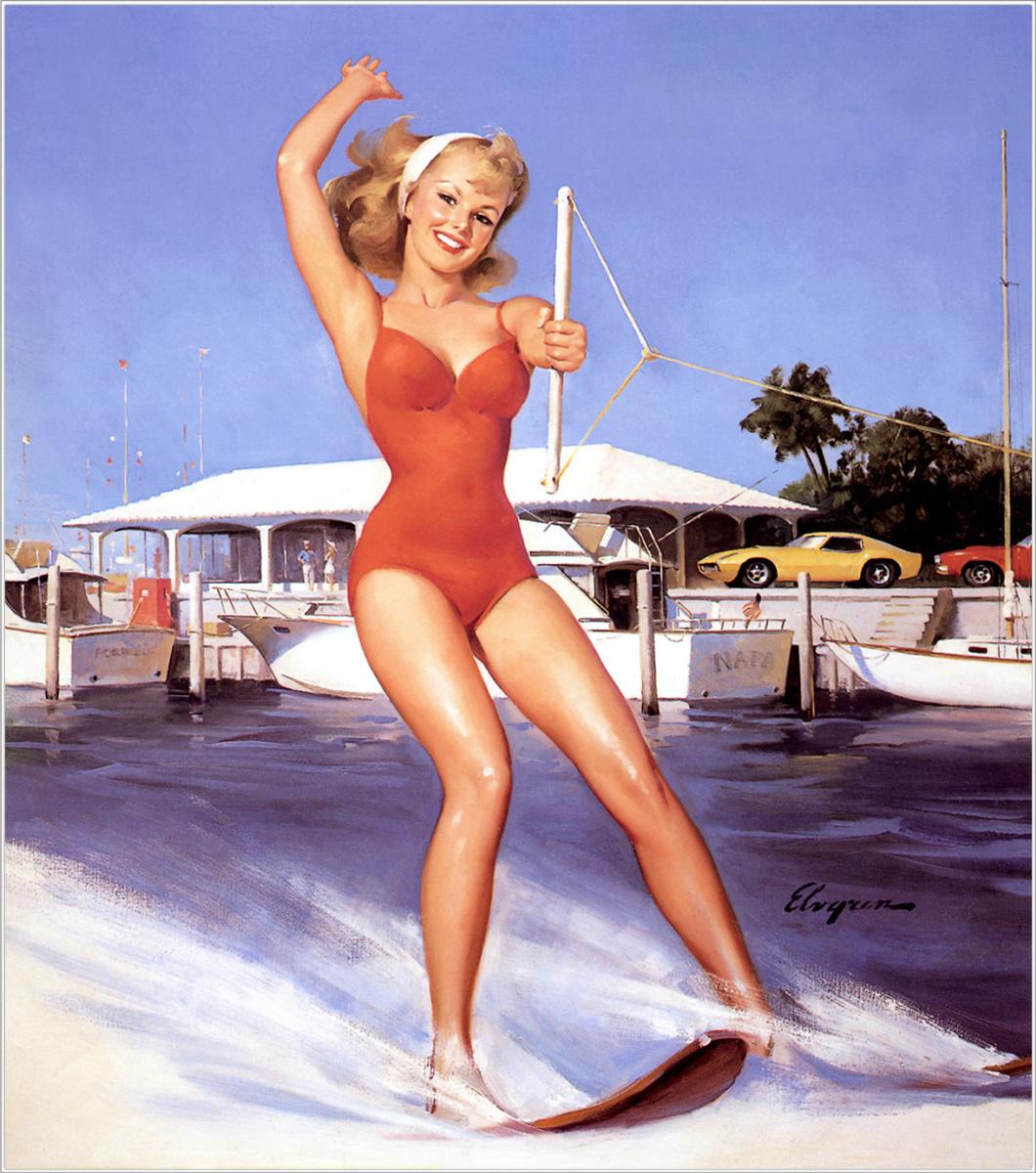 Jill Elvgren. Red swimsuit
