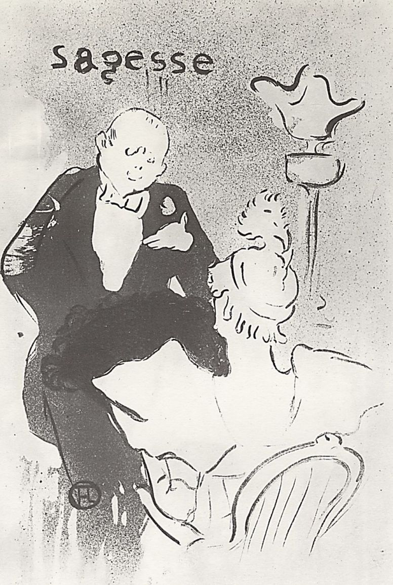 """Анри де Тулуз-Лотрек. Иллюстрация к стихотворениям Жана Гудецкого """"Старые истории"""". Почтение"""