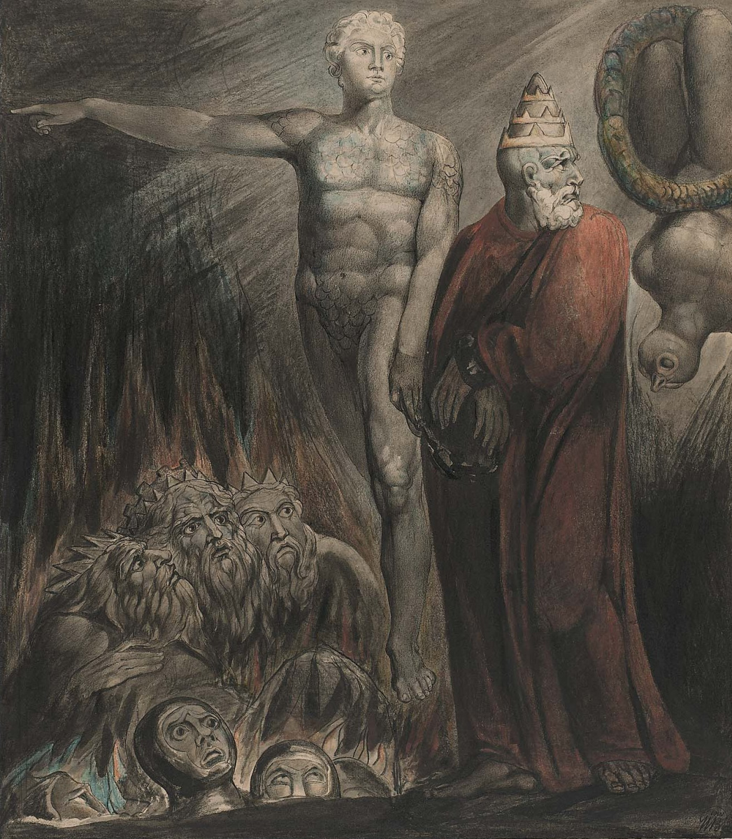 Уильям Блейк. Иллюстрации к Библии. Люцифер и царь Вавилонский в Аду