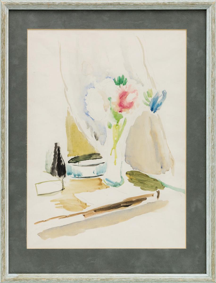Аркадий Александрович Лурье. Натюрморт с цветами на столе. 1930-40-е