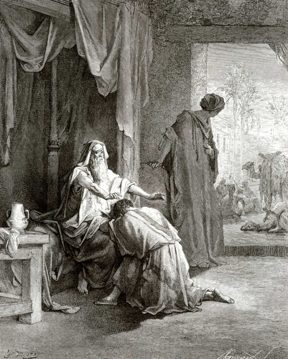 Поль Гюстав Доре. Иллюстрации к Библии: Исаак благославляет Иакова