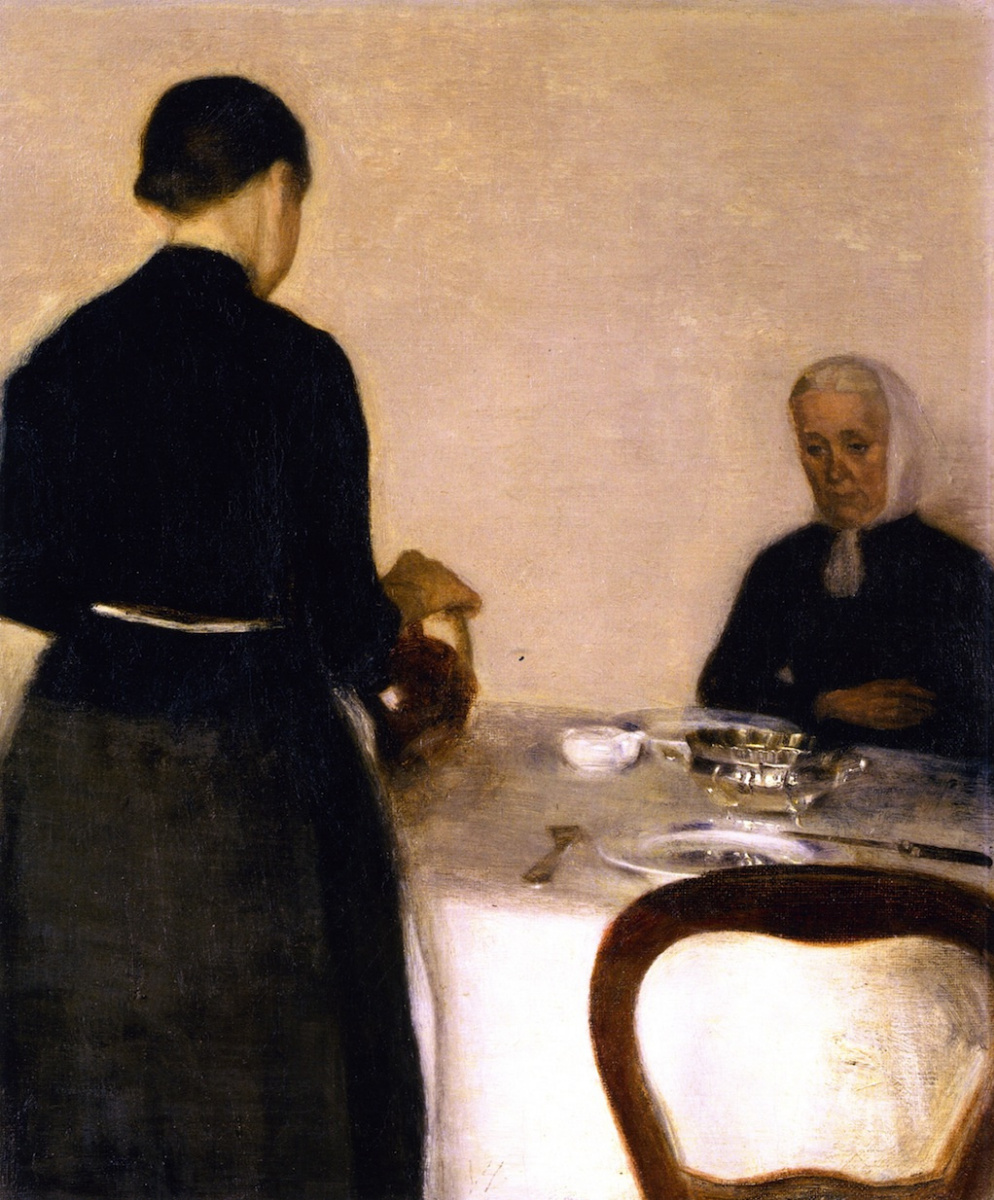 Vilhelm Hammershøi. Interior with the artist's mother and sister
