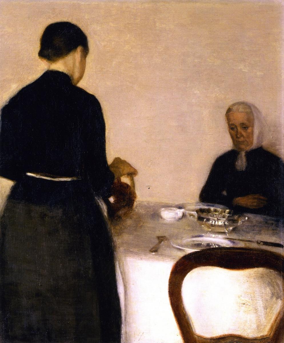 Вильгельм Хаммерсхёй. Интерьер с матерью и сестрой художника