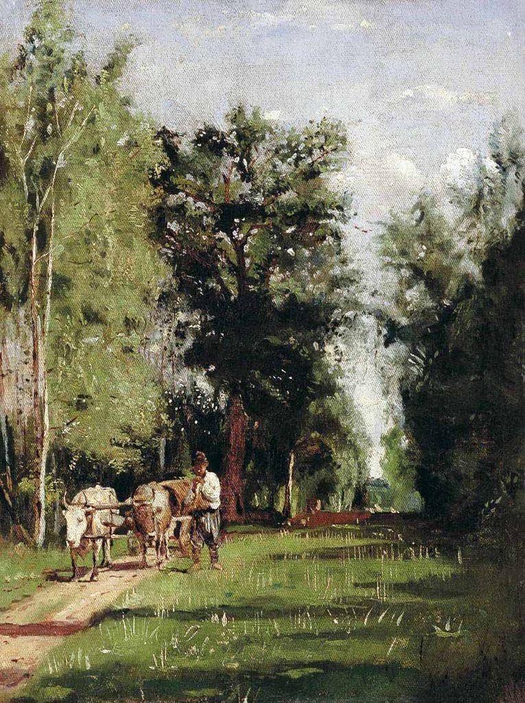 Alexandra Egorovna Makovsky. Landscape with a water carrier