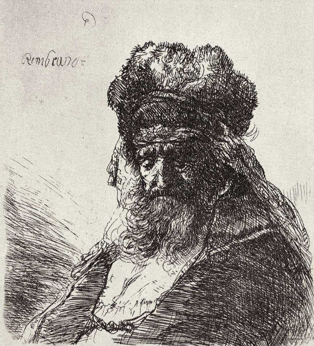 Rembrandt Harmenszoon van Rijn. The old poor man in a fur hat