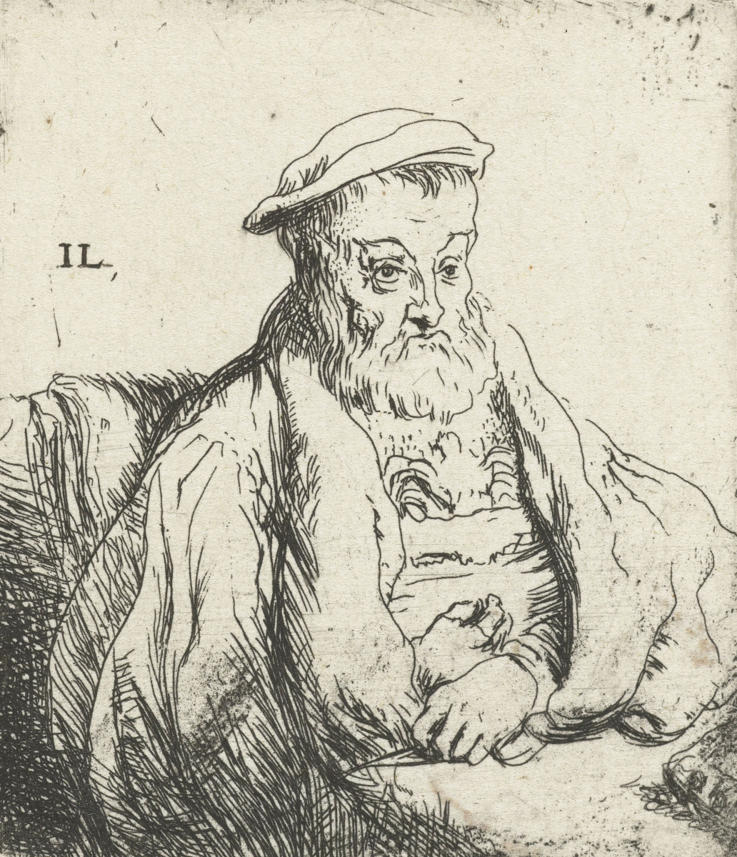 Ян Ливенс. Сидящий пожилой господин в берете